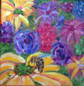 Bee Flowers by Loretta Ferris