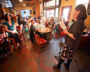 San Mateo Poet, Caroline Goodwin, reading at Aqus Cafe for Rivertown Poets
